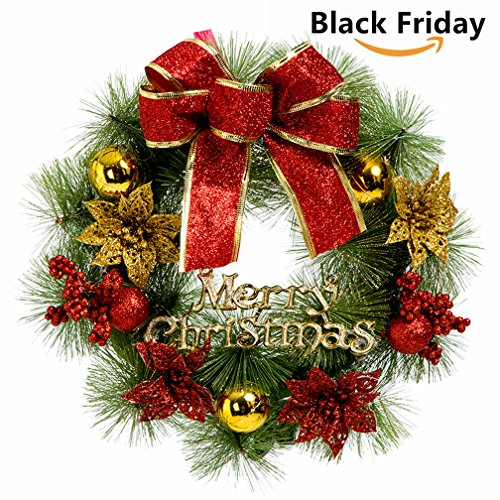 small christmas wreath for front door wall windows artificial poinsettia xmas decoration 79 inch - Small Christmas Decorations